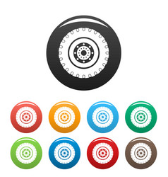 Tyre icons set color vector