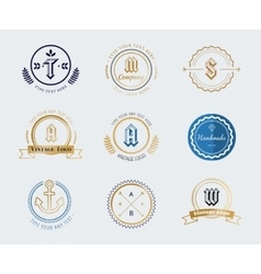 Vintage old style shield logo icon template set vector
