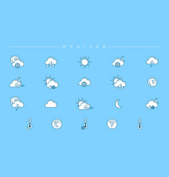 weather concept line style icons set vector image
