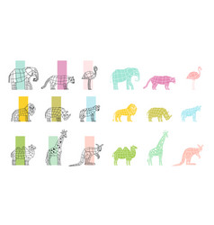 wild animals flat polygonal icons set vector image