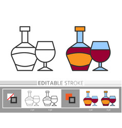 wine editable stroke line icon coloring page vector image