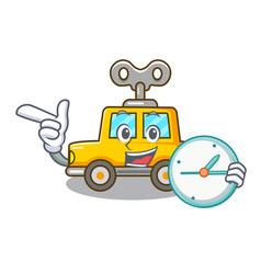 With clock cartoon clockwork toy car in table vector