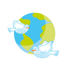 World planet with doves flying vector