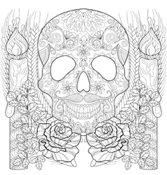 Zentangle stylized Skull with candles roses ears vector