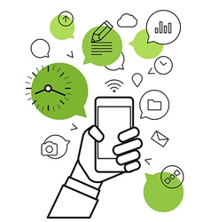 Communicating via modern smartphone Simple line vector image
