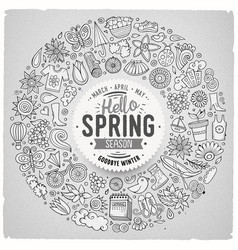 hand drawn set of spring cartoon doodle vector image vector image