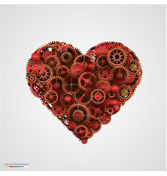 heart made of metal cogwheel vector image