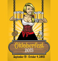oktoberfest poster with bavarian girl vector image vector image