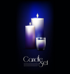 realistic glowing candles set vector image