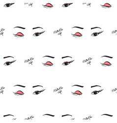 women make up beauty fashion seamless pattern eyes vector image