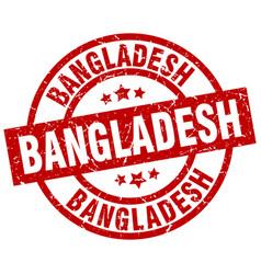 bangladesh red round grunge stamp vector image vector image