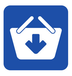 Blue white sign - shopping basket add icon vector