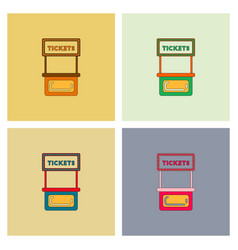 Carnival ticket booth set vector