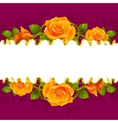 frame whith yellow roses vector image vector image
