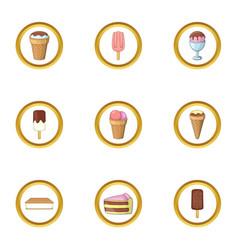 ice cream icons set cartoon style vector image