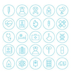 Line Circle Health Care Medical Icons Set vector image