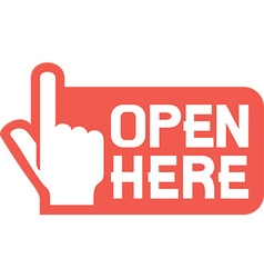 Open Here Sign Icon vector image