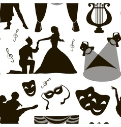 Pattern of theatre acting performance icons vector image vector image