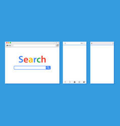 set of flat blank browser windows for different vector image vector image