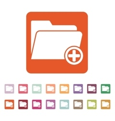 The add to folder icon Data and directory vector image vector image