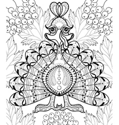 Zentangle stylized Turkey with autumn leaves for vector image vector image