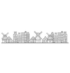 amsterdam houses windmill and city style vector image vector image
