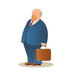 Funny old man with a suitcase Business elderly vector image vector image