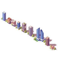 low poly isometric modern buildings set vector image vector image