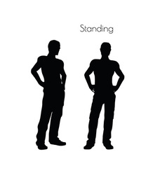 Man in standing pose on white background vector