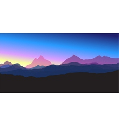 mountains at sunset vector image vector image