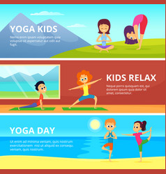 outdoor pictures of kids making different yoga vector image
