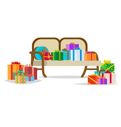 presents on bench holiday collection vector image vector image