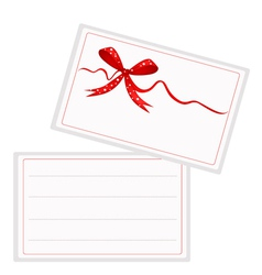 White Gift Card with Beautiful Red Ribbon vector image