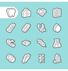 3D Fat Line Icons vector image
