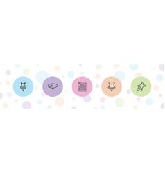 5 pushpin icons vector