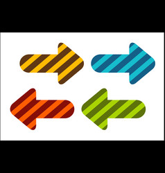 a set of colored arrows showing right and left vector image