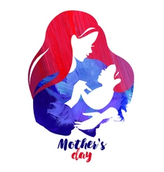 Acrylic watercolor beautiful mother silhouette vector