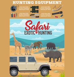 African safari hunting animals in savanna poster vector
