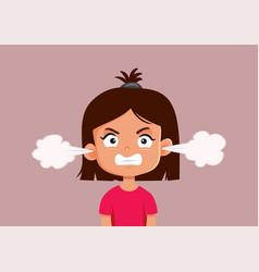 Angry little girl cartoon character vector