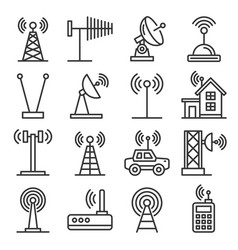 antenna and wireless technology icons set vector image