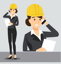 beautiful girl in workplace wearing safety helmet vector image