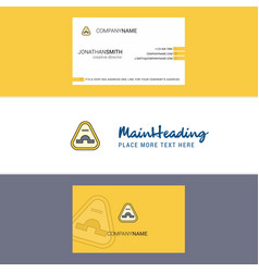 Beautiful jump road sign logo and business card vector