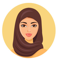 Beautiful young happy muslim woman in hijab vector
