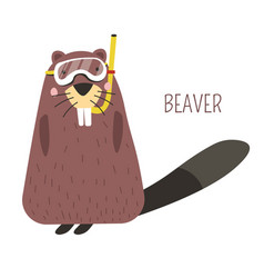 beaver in diving mask cartoon childish character vector image