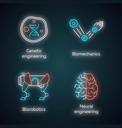 Bioengineering neon light icons set changing vector