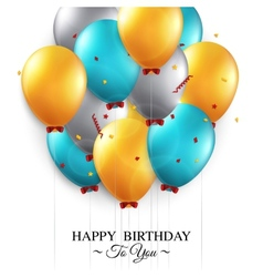 Birthday card with balloons and birthday text vector image