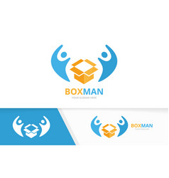 Box and people logo combination package vector