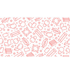 bubble gum seamless pattern with flat line icons vector image