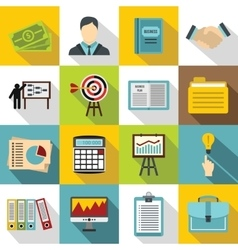 Business plan icons set flat style vector