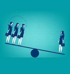 Businesswoman on seesaw vector